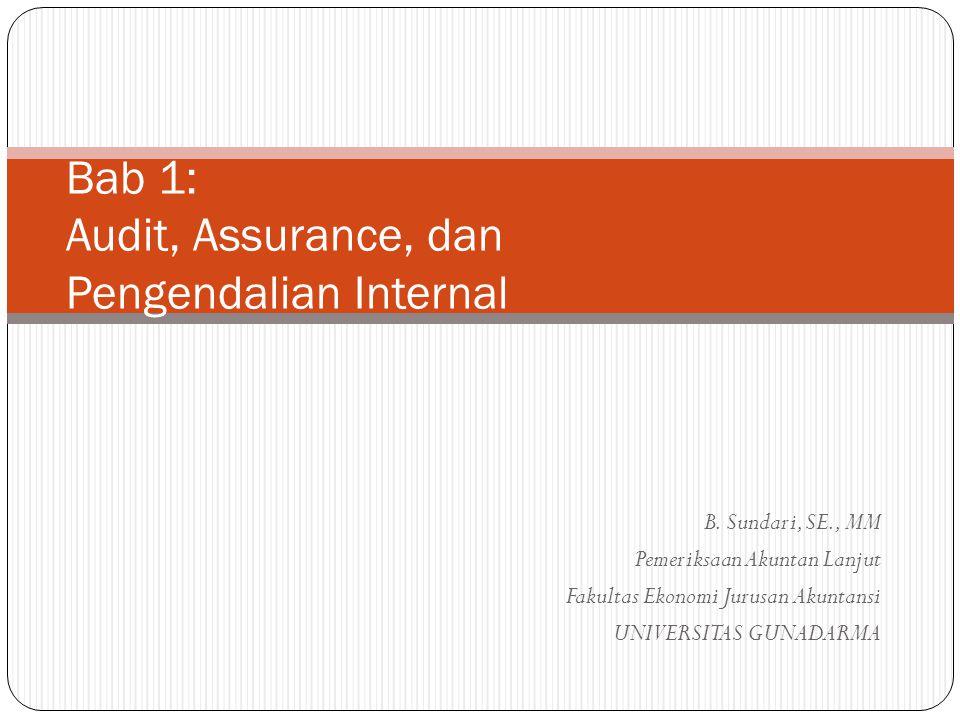 B. Sundari, SE., MM Pemeriksaan Akuntan Lanjut Fakultas Ekonomi Jurusan Akuntansi UNIVERSITAS GUNADARMA Bab 1: Audit, Assurance, dan Pengendalian Inte