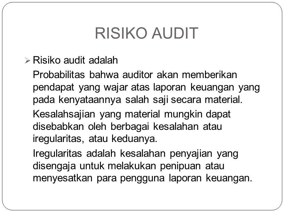 RISIKO AUDIT  Risiko audit adalah Probabilitas bahwa auditor akan memberikan pendapat yang wajar atas laporan keuangan yang pada kenyataannya salah s