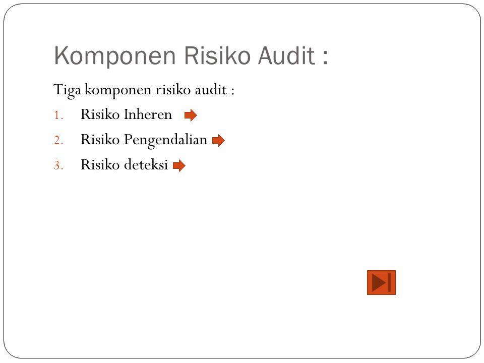 Komponen Risiko Audit : Tiga komponen risiko audit : 1. Risiko Inheren 2. Risiko Pengendalian 3. Risiko deteksi