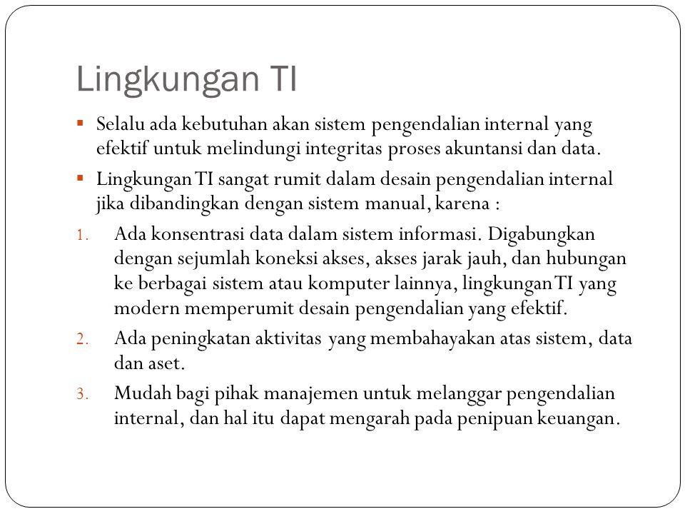 Lingkungan TI  Selalu ada kebutuhan akan sistem pengendalian internal yang efektif untuk melindungi integritas proses akuntansi dan data.  Lingkunga