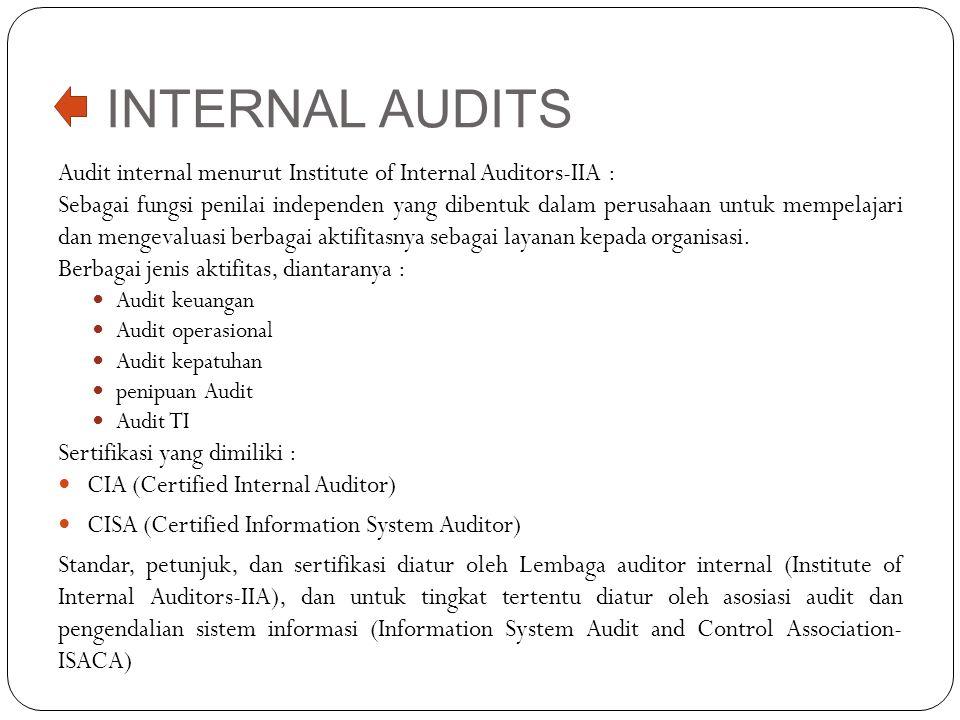 INTERNAL AUDITS Audit internal menurut Institute of Internal Auditors-IIA : Sebagai fungsi penilai independen yang dibentuk dalam perusahaan untuk mem