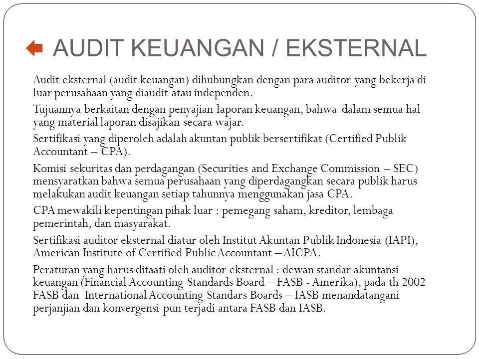 AUDIT KEUANGAN / EKSTERNAL Audit eksternal (audit keuangan) dihubungkan dengan para auditor yang bekerja di luar perusahaan yang diaudit atau independ
