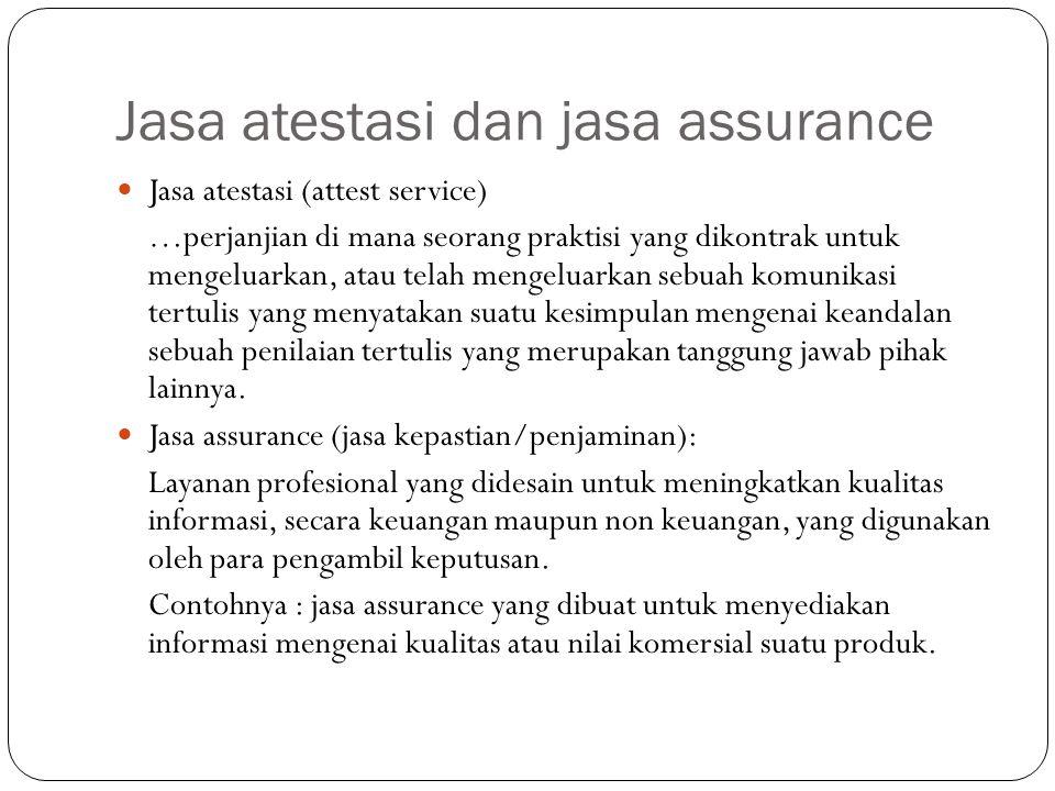 Jasa atestasi dan jasa assurance Jasa atestasi (attest service) …perjanjian di mana seorang praktisi yang dikontrak untuk mengeluarkan, atau telah men