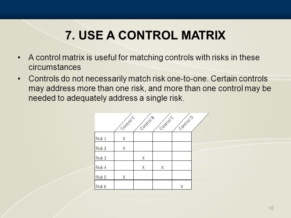 7. USE A CONTROL MATRIX A control matrix is useful for matching controls with risks in these circumstances Controls do not necessarily match risk one-
