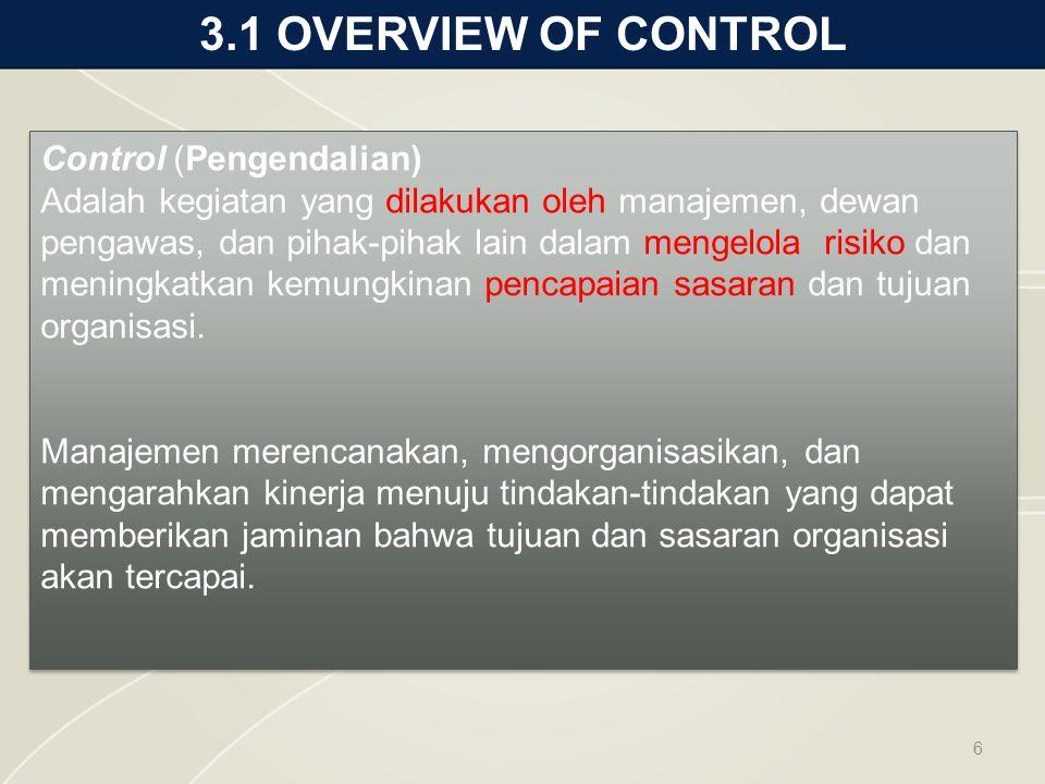 3.1 OVERVIEW OF CONTROL 6 Control (Pengendalian) Adalah kegiatan yang dilakukan oleh manajemen, dewan pengawas, dan pihak-pihak lain dalam mengelola risiko dan meningkatkan kemungkinan pencapaian sasaran dan tujuan organisasi.