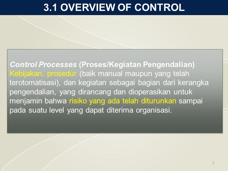 3.1 OVERVIEW OF CONTROL 7 Control Processes (Proses/Kegiatan Pengendalian) Kebijakan, prosedur (baik manual maupun yang telah terotomatisasi), dan kegiatan sebagai bagian dari kerangka pengendalian, yang dirancang dan dioperasikan untuk menjamin bahwa risiko yang ada telah diturunkan sampai pada suatu level yang dapat diterima organisasi.
