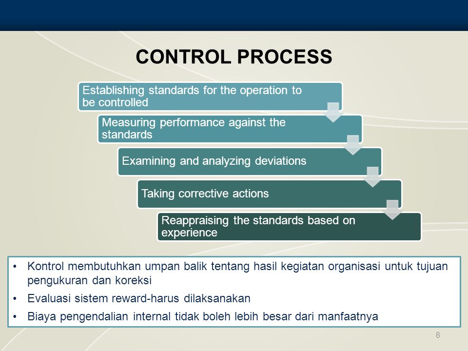 CONTROL PROCESS 8 Establishing standards for the operation to be controlled Measuring performance against the standards Examining and analyzing deviationsTaking corrective actions Reappraising the standards based on experience Kontrol membutuhkan umpan balik tentang hasil kegiatan organisasi untuk tujuan pengukuran dan koreksi Evaluasi sistem reward-harus dilaksanakan Biaya pengendalian internal tidak boleh lebih besar dari manfaatnya