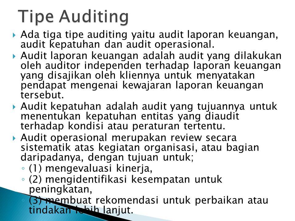  Ada tiga tipe auditing yaitu audit laporan keuangan, audit kepatuhan dan audit operasional.  Audit laporan keuangan adalah audit yang dilakukan ole