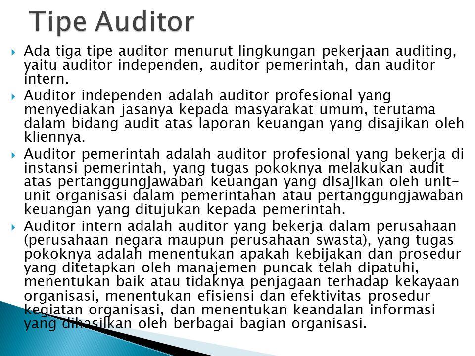  Ada tiga tipe auditor menurut lingkungan pekerjaan auditing, yaitu auditor independen, auditor pemerintah, dan auditor intern.  Auditor independen