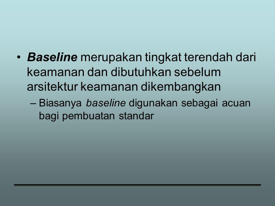 Baseline merupakan tingkat terendah dari keamanan dan dibutuhkan sebelum arsitektur keamanan dikembangkan –Biasanya baseline digunakan sebagai acuan bagi pembuatan standar