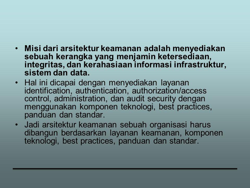 Misi dari arsitektur keamanan adalah menyediakan sebuah kerangka yang menjamin ketersediaan, integritas, dan kerahasiaan informasi infrastruktur, sistem dan data.