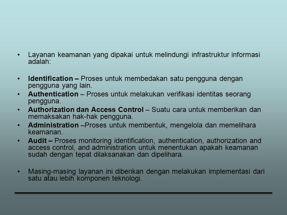 Layanan keamanan yang dipakai untuk melindungi infrastruktur informasi adalah: Identification – Proses untuk membedakan satu pengguna dengan pengguna yang lain.