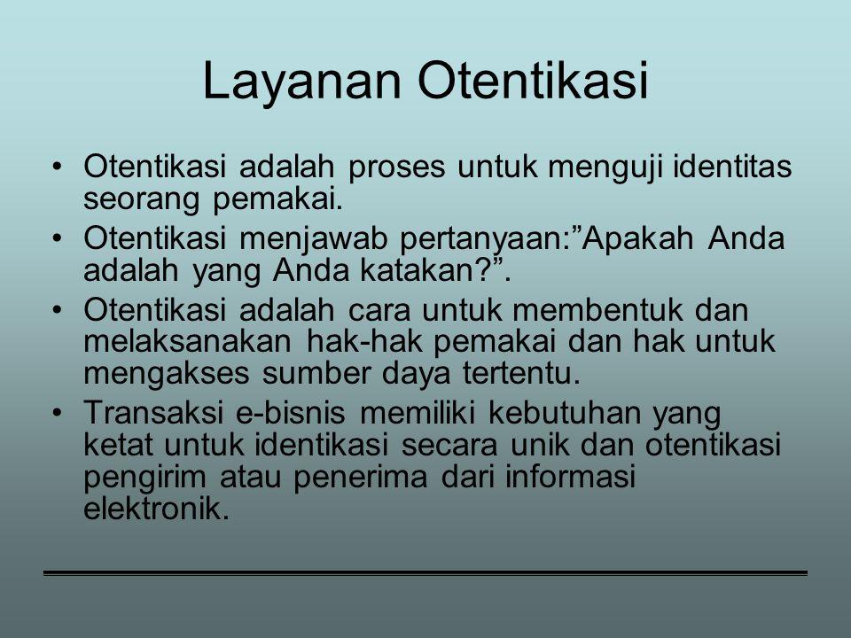 Layanan Otentikasi Otentikasi adalah proses untuk menguji identitas seorang pemakai.