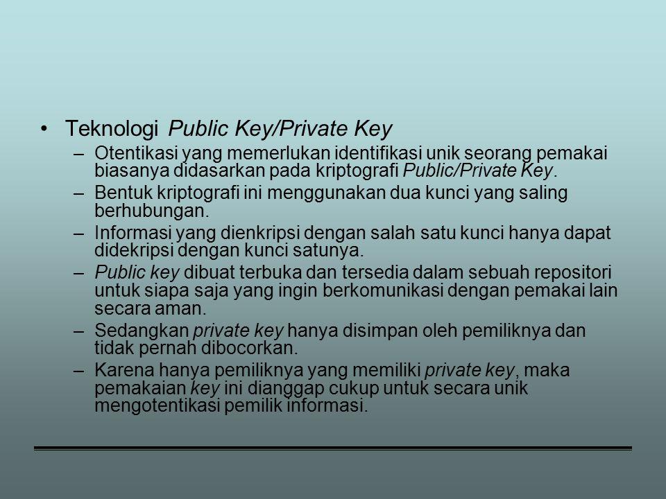 Teknologi Public Key/Private Key –Otentikasi yang memerlukan identifikasi unik seorang pemakai biasanya didasarkan pada kriptografi Public/Private Key.