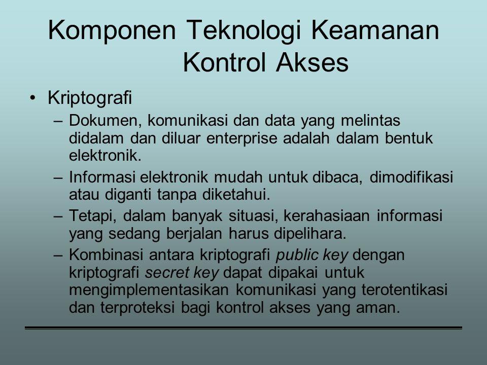 Komponen Teknologi Keamanan Kontrol Akses Kriptografi –Dokumen, komunikasi dan data yang melintas didalam dan diluar enterprise adalah dalam bentuk elektronik.