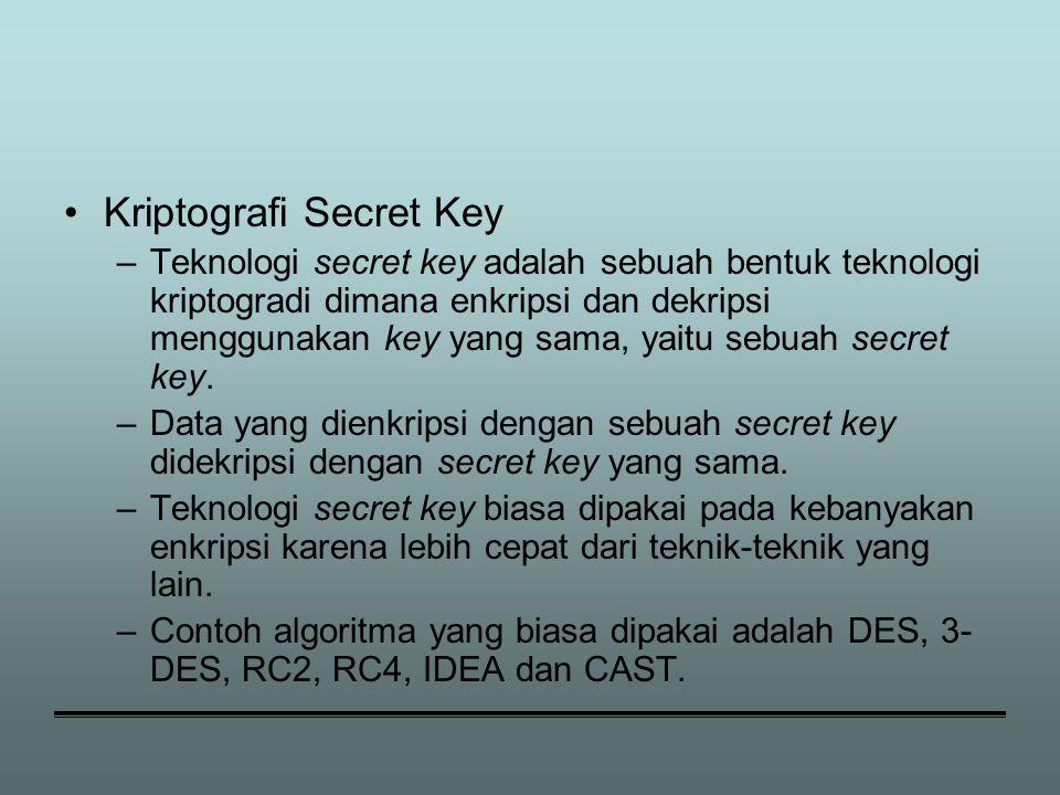 Kriptografi Secret Key –Teknologi secret key adalah sebuah bentuk teknologi kriptogradi dimana enkripsi dan dekripsi menggunakan key yang sama, yaitu sebuah secret key.