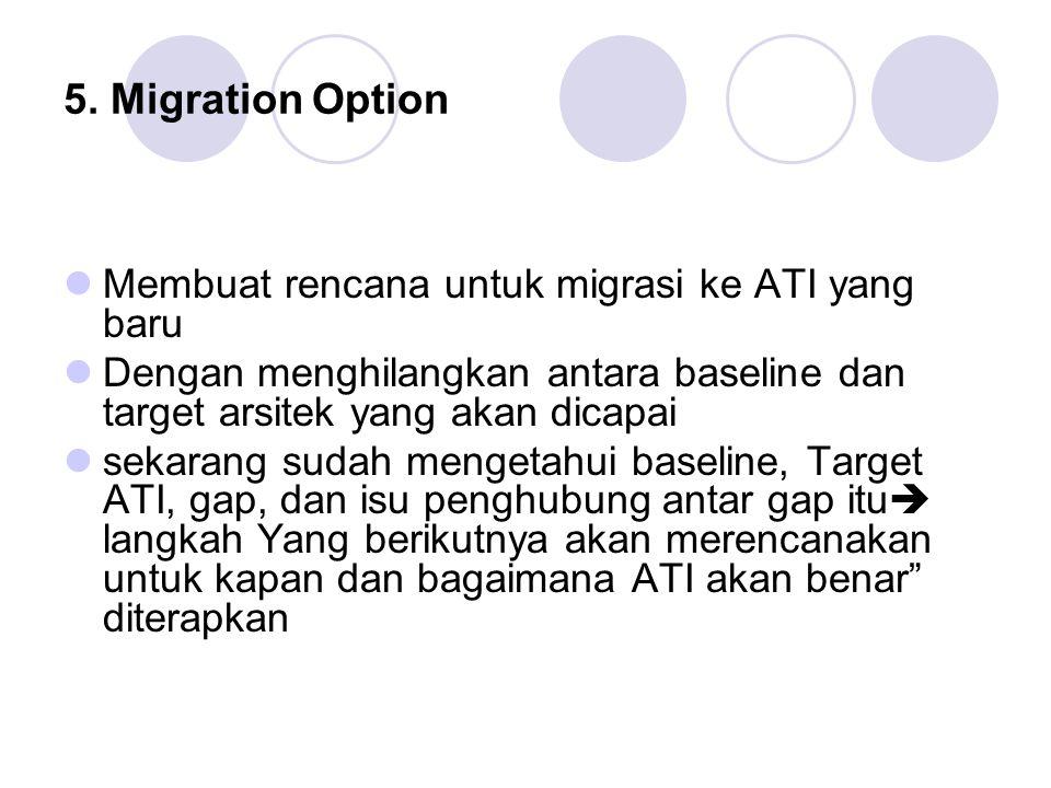 5. Migration Option Membuat rencana untuk migrasi ke ATI yang baru Dengan menghilangkan antara baseline dan target arsitek yang akan dicapai sekarang