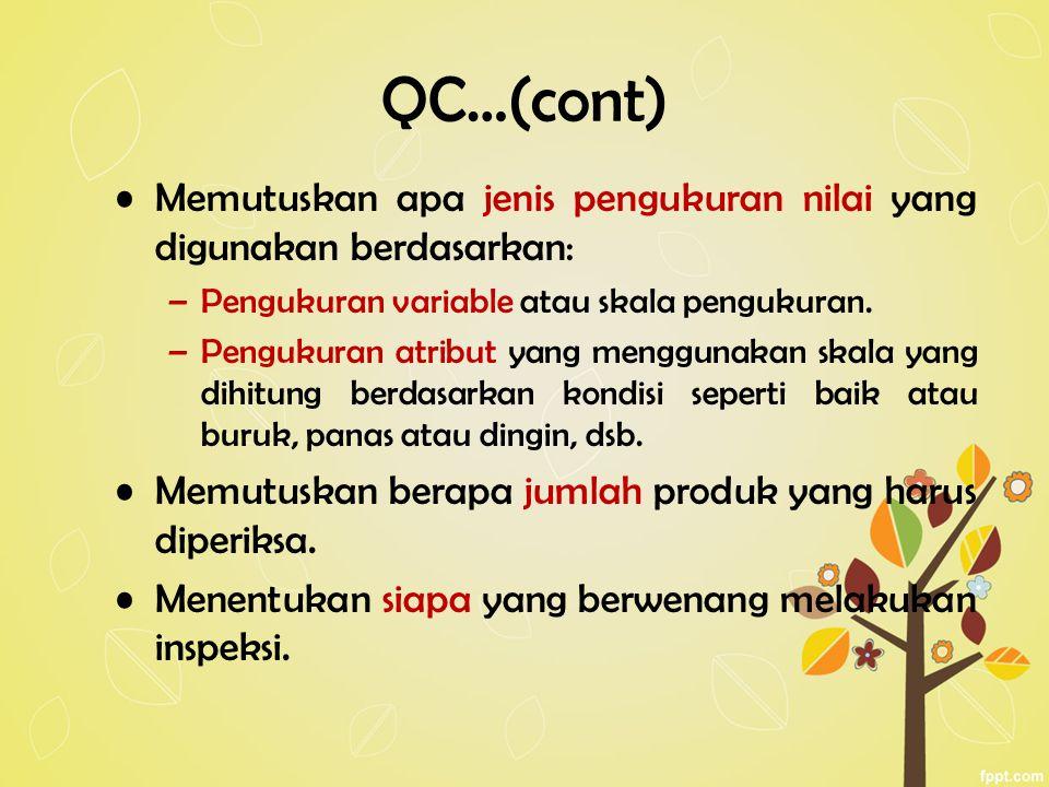 QC…(cont) Memutuskan apa jenis pengukuran nilai yang digunakan berdasarkan: –Pengukuran variable atau skala pengukuran. –Pengukuran atribut yang mengg