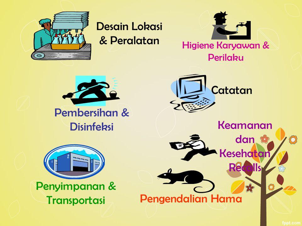 Higiene Karyawan & Perilaku Pengendalian Hama Penyimpanan & Transportasi Catatan Keamanan dan Kesehatan Recalls Desain Lokasi & Peralatan Pembersihan & Disinfeksi