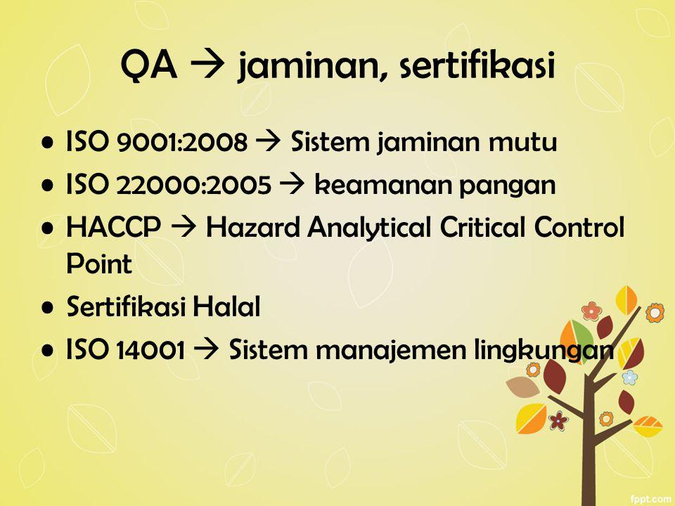 QA  jaminan, sertifikasi ISO 9001:2008  Sistem jaminan mutu ISO 22000:2005  keamanan pangan HACCP  Hazard Analytical Critical Control Point Sertifikasi Halal ISO 14001  Sistem manajemen lingkungan