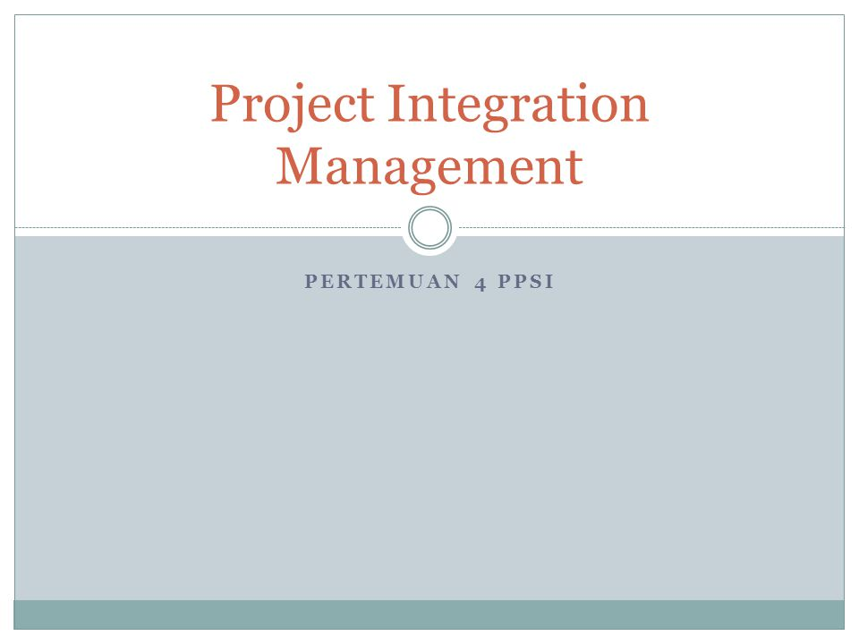 2 IT Project Management, Third Edition Chapter 4 Project Integration Management Overview Note: The PMBOK® Guide 2000 includes similar charts for each knowledge area.