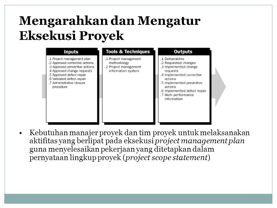 Mengarahkan dan Mengatur Eksekusi Proyek Kebutuhan manajer proyek dan tim proyek untuk melaksanakan aktifitas yang berlipat pada eksekusi project mana