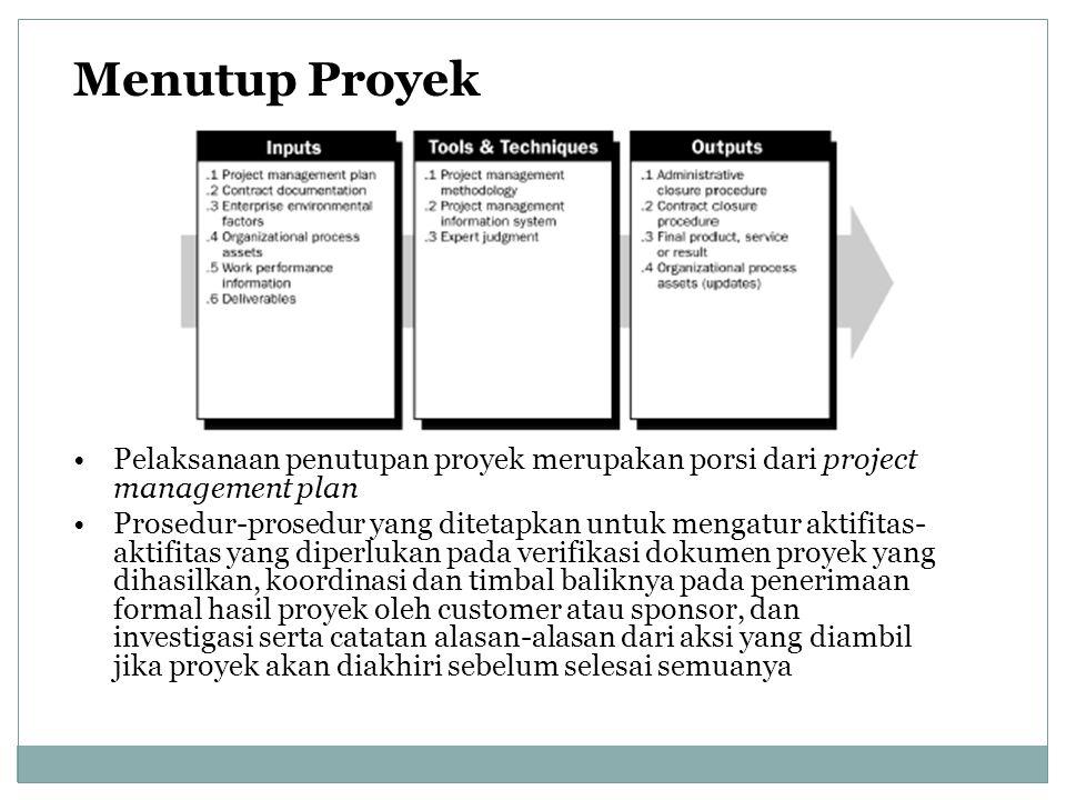 Menutup Proyek Pelaksanaan penutupan proyek merupakan porsi dari project management plan Prosedur-prosedur yang ditetapkan untuk mengatur aktifitas- a
