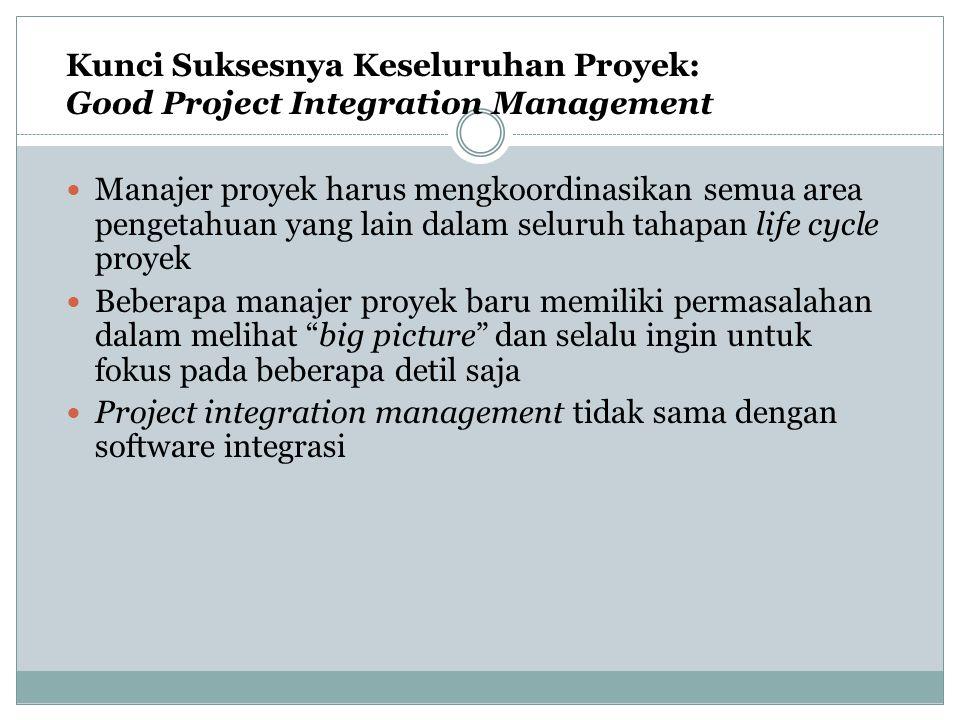 Proses Project Integration Management Membuat Project Charter Membuat Preliminary Project Scope Statement (PMBOK 4 diganti requirement) Membuat Project Management Plan Mengarahkan dan mengatur eksekusi proyek Mengawasi dan mengendalikan pekerjaan proyek Mengintegrasikan pengendalian perubahan Menutup proyek