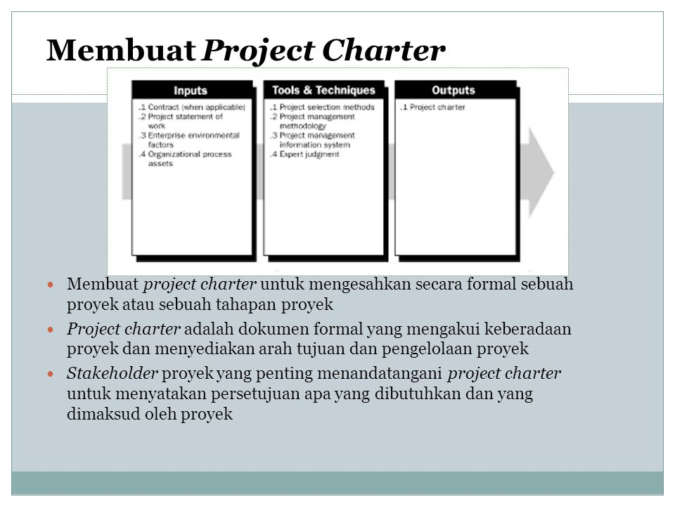 Project Scope Statement : berisi informasi Project and product objectives Product or service requirements and characteristics Product acceptance criteria Project boundaries Project requirements and deliverables Project constraints & assumptions Initial project organization Initial defined risks Schedule milestones Initial WBS (work breakdown structure) Order of magnitude cost estimate Project configuration management requirements Approval requirements