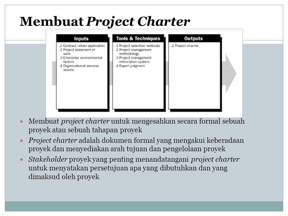 Membuat project charter untuk mengesahkan secara formal sebuah proyek atau sebuah tahapan proyek Project charter adalah dokumen formal yang mengakui k