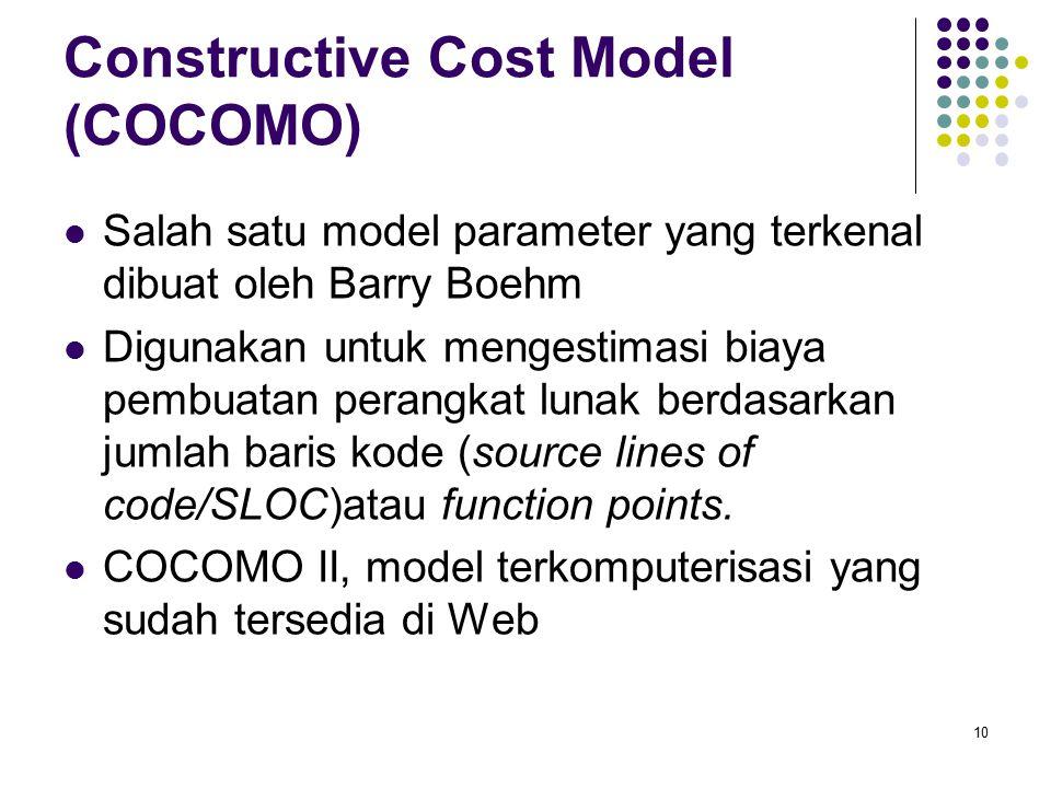 Constructive Cost Model (COCOMO) Salah satu model parameter yang terkenal dibuat oleh Barry Boehm Digunakan untuk mengestimasi biaya pembuatan perangk
