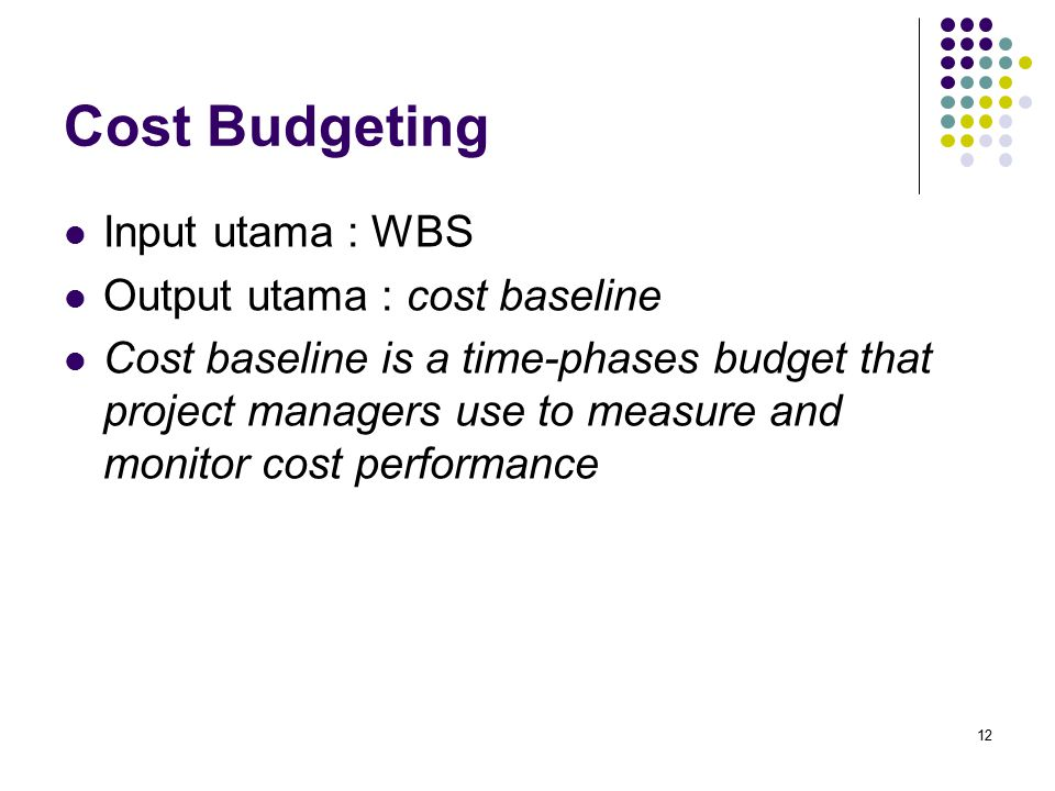 Cost Budgeting 12 Input utama : WBS Output utama : cost baseline Cost baseline is a time-phases budget that project managers use to measure and monito