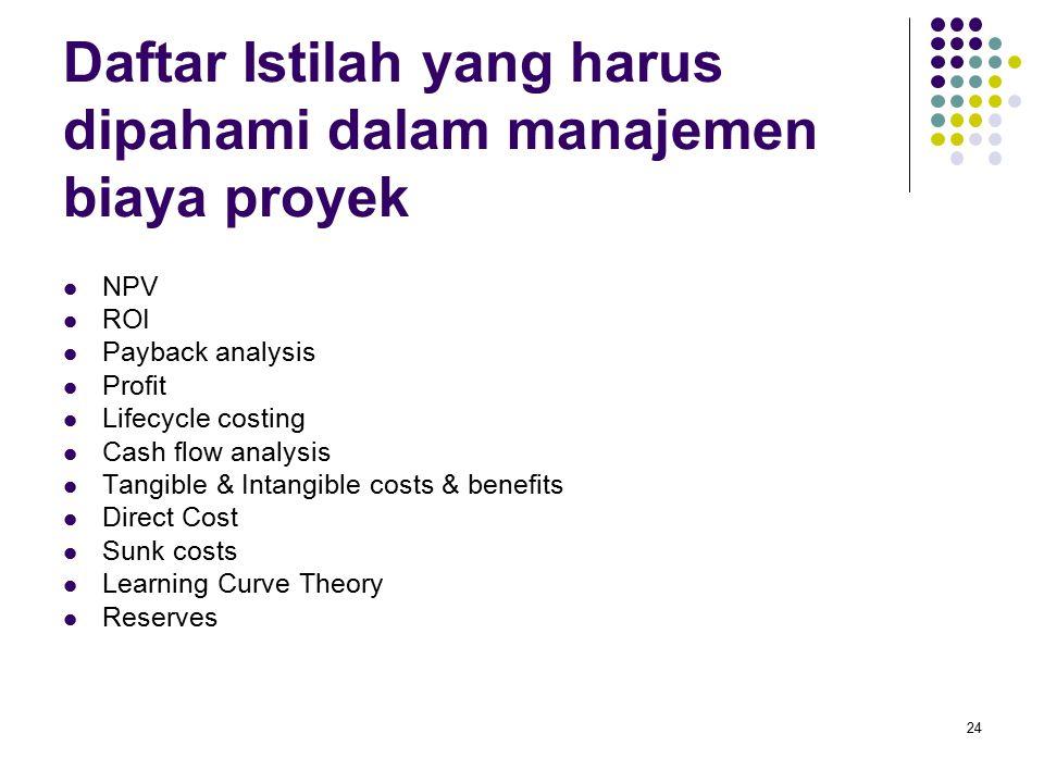 24 Daftar Istilah yang harus dipahami dalam manajemen biaya proyek NPV ROI Payback analysis Profit Lifecycle costing Cash flow analysis Tangible & Int