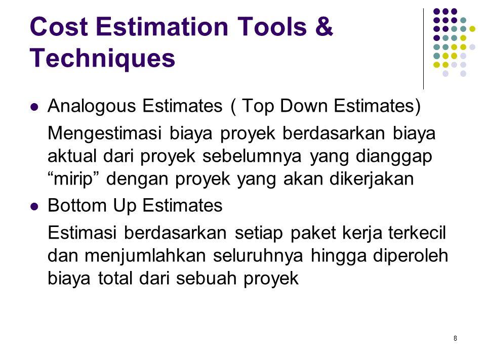 Cost Estimation Tools & Techniques (2) Parametric Modeling Estimasi biaya proyek dilakukan dengan memanfaatkan karakteristik proyek sebagai parameter dalam model matematika.