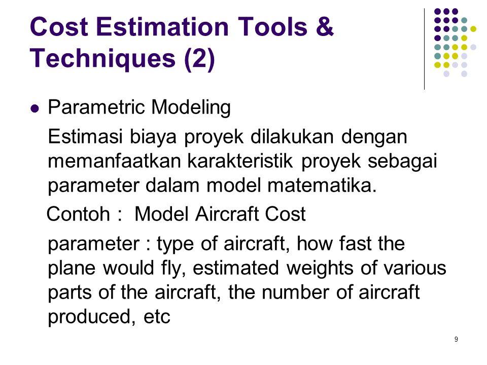 Cost Estimation Tools & Techniques (2) Parametric Modeling Estimasi biaya proyek dilakukan dengan memanfaatkan karakteristik proyek sebagai parameter