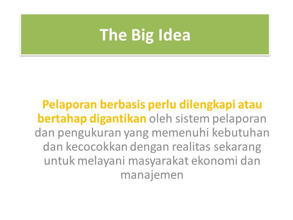 The Big Idea Pelaporan berbasis perlu dilengkapi atau bertahap digantikan oleh sistem pelaporan dan pengukuran yang memenuhi kebutuhan dan kecocokkan