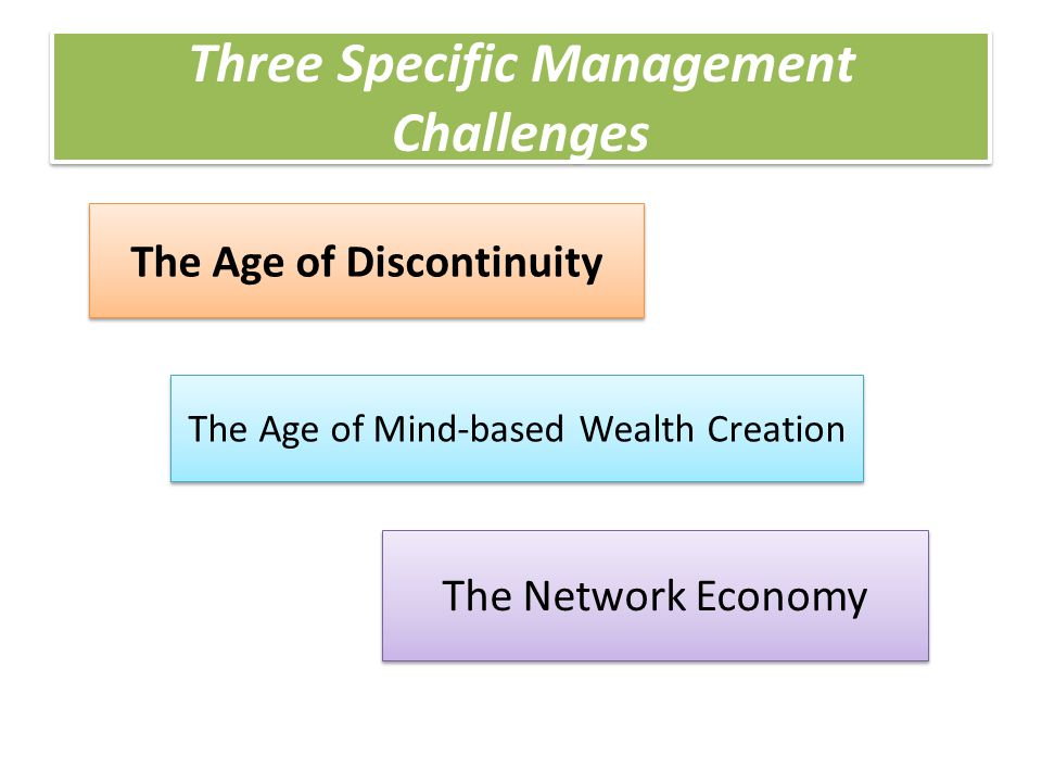 Three Specific Management Challenges The Age of Discontinuity The Age of Mind-based Wealth Creation The Network Economy