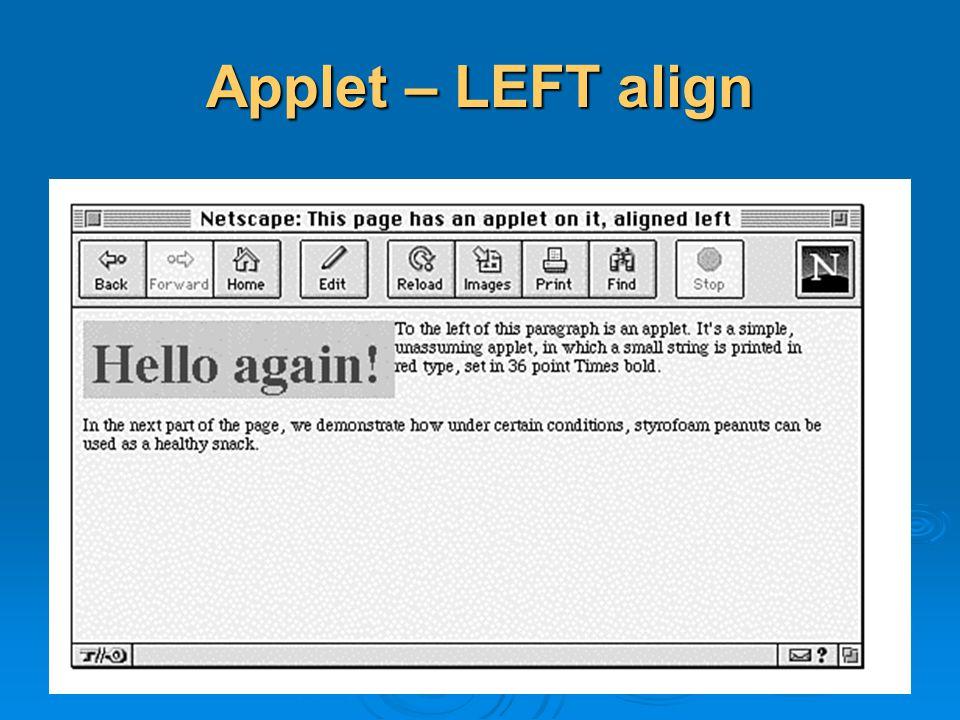 Applet – LEFT align