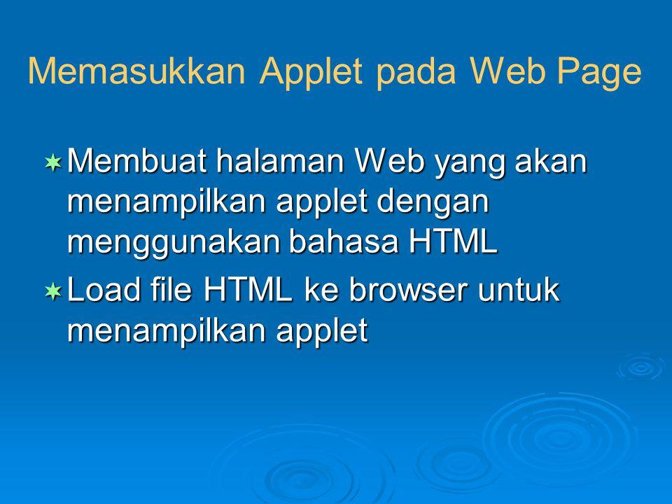 Memasukkan Applet pada Web Page  Membuat halaman Web yang akan menampilkan applet dengan menggunakan bahasa HTML  Load file HTML ke browser untuk me