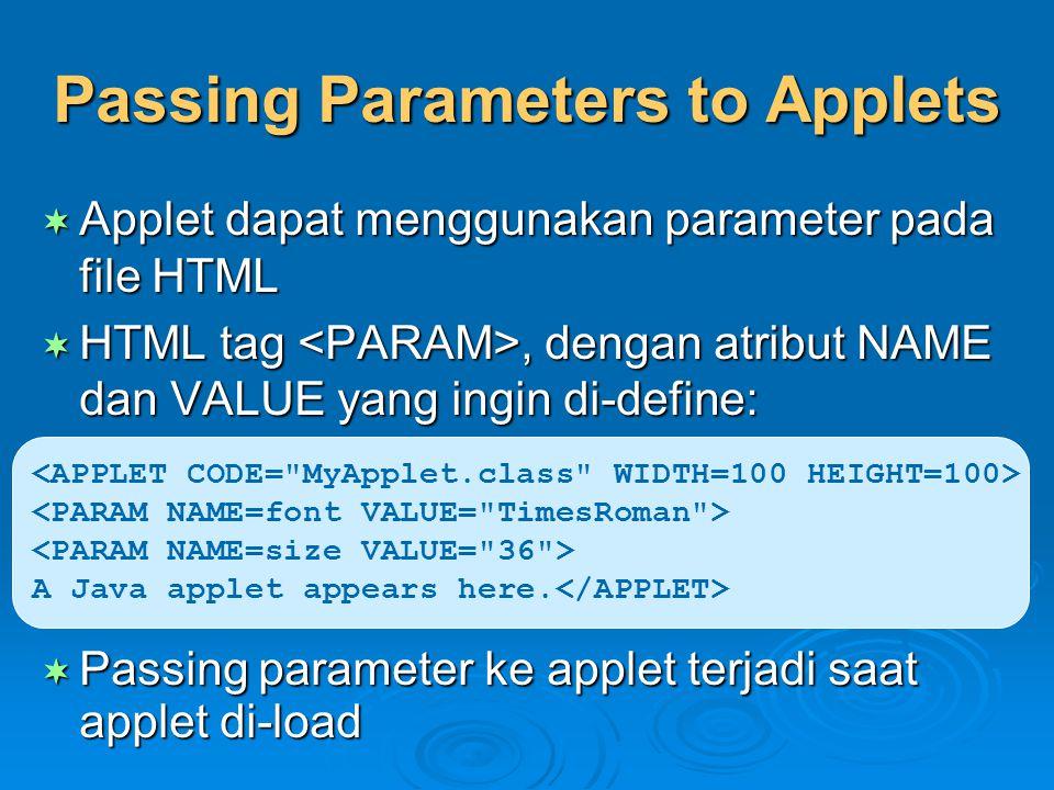 Passing Parameters to Applets  Applet dapat menggunakan parameter pada file HTML  HTML tag, dengan atribut NAME dan VALUE yang ingin di-define:  Pa