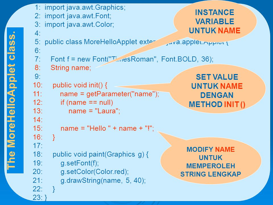 1: import java.awt.Graphics; 2: import java.awt.Font; 3: import java.awt.Color; 4: 5: public class MoreHelloApplet extends java.applet.Applet { 6: 7: Font f = new Font( TimesRoman , Font.BOLD, 36); 8: String name; 9: 10: public void init() { 11: name = getParameter( name ); 12: if (name == null) 13: name = Laura ; 14: 15: name = Hello + name + ! ; 16: } 17: 18: public void paint(Graphics g) { 19: g.setFont(f); 20: g.setColor(Color.red); 21: g.drawString(name, 5, 40); 22: } 23: } INSTANCE VARIABLE UNTUK NAME SET VALUE UNTUK NAME DENGAN METHOD INIT () MODIFY NAME UNTUK MEMPEROLEH STRING LENGKAP The MoreHelloApplet class.