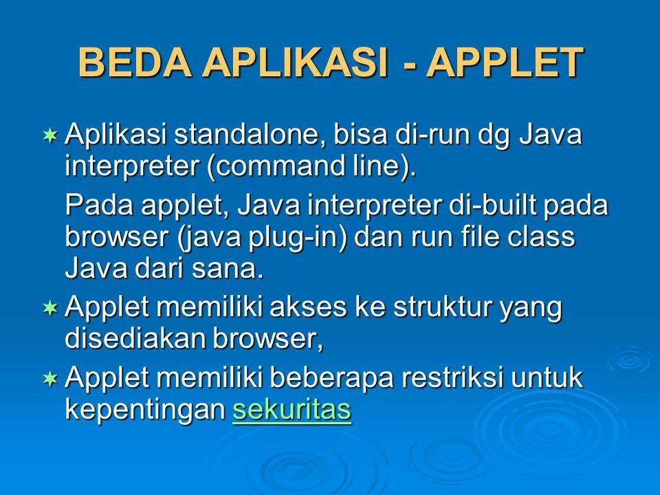 MEMBUAT APPLET  Buat subclass dari class dengan inisialisasi sebagai berikut:  Buat subclass dari class Applet dengan inisialisasi sebagai berikut:  Method-method penting pada eksekusi applet (init, start, stop, destroy)  Contoh applet sederhana public class myClass extends java.applet.Applet {...