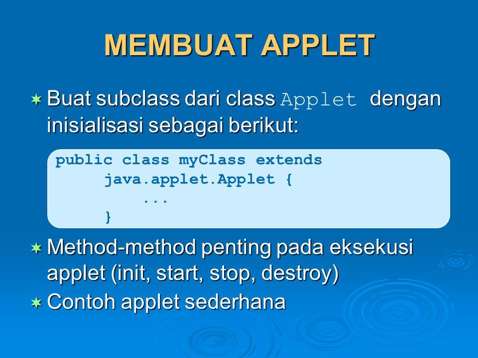 MEMBUAT APPLET  Buat subclass dari class dengan inisialisasi sebagai berikut:  Buat subclass dari class Applet dengan inisialisasi sebagai berikut:
