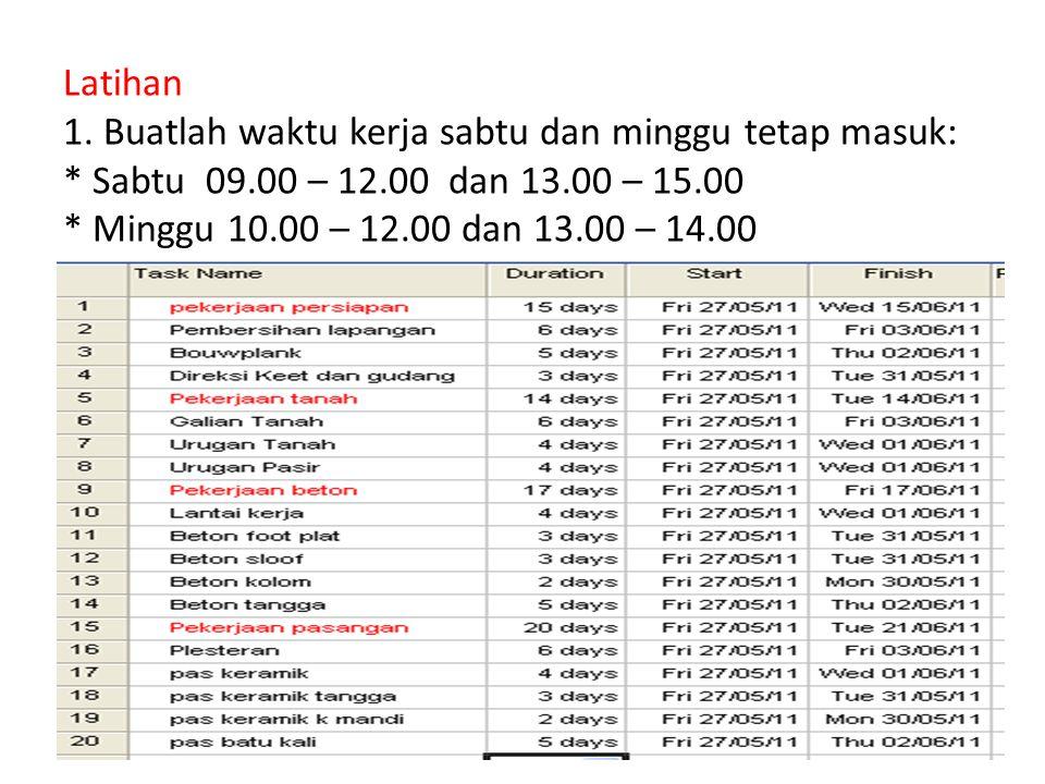Latihan 1. Buatlah waktu kerja sabtu dan minggu tetap masuk: * Sabtu 09.00 – 12.00 dan 13.00 – 15.00 * Minggu 10.00 – 12.00 dan 13.00 – 14.00 24