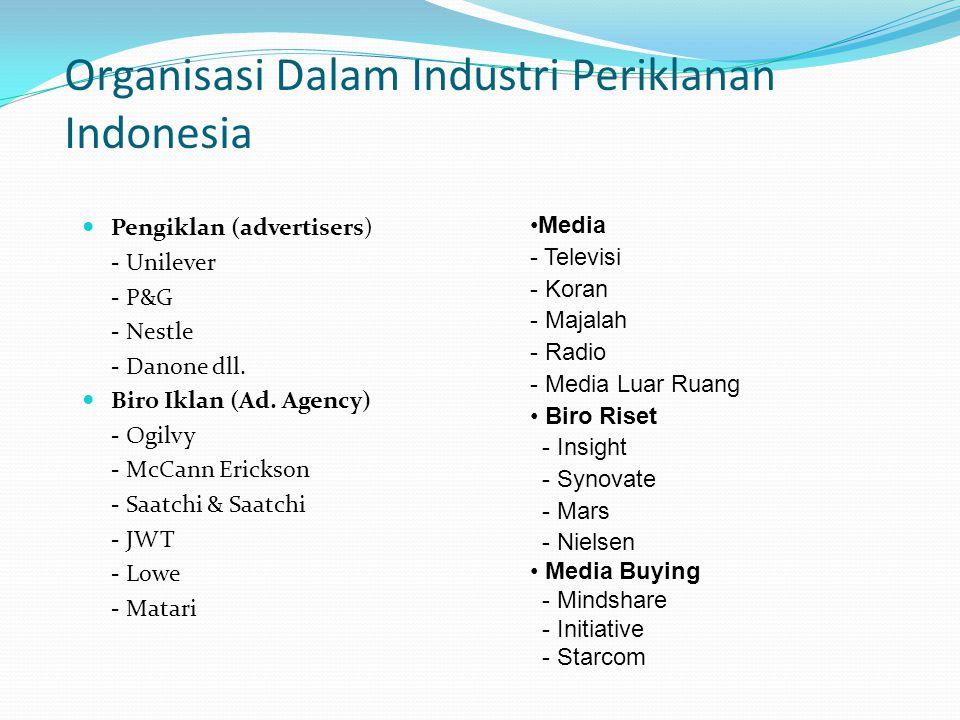 Organisasi Dalam Industri Periklanan Indonesia Pengiklan (advertisers) - Unilever - P&G - Nestle - Danone dll. Biro Iklan (Ad. Agency) - Ogilvy - McCa