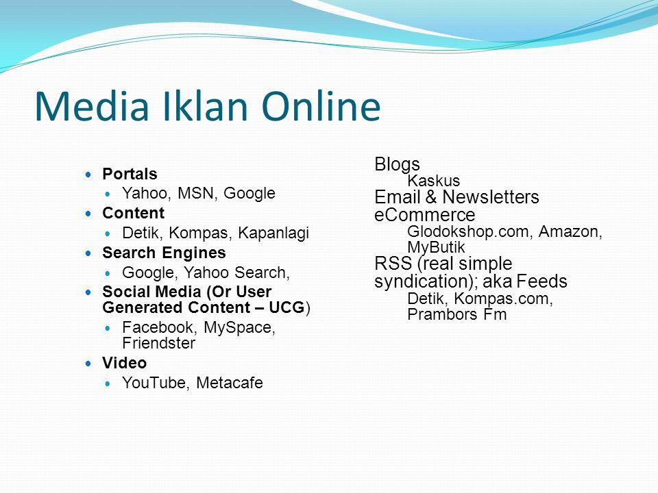 Media Iklan Online Portals Yahoo, MSN, Google Content Detik, Kompas, Kapanlagi Search Engines Google, Yahoo Search, Social Media (Or User Generated Co