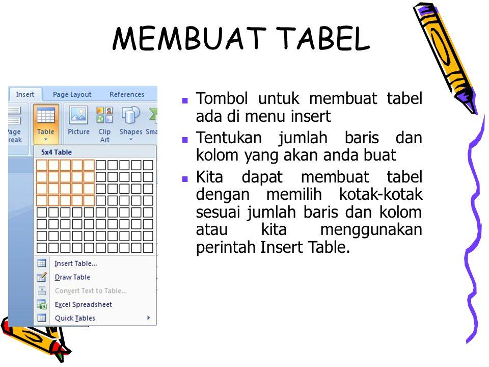 Tombol untuk membuat tabel ada di menu insert Tentukan jumlah baris dan kolom yang akan anda buat Kita dapat membuat tabel dengan memilih kotak-kotak