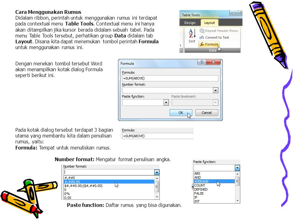 Cara Menggunakan Rumus Didalam ribbon, perintah untuk menggunakan rumus ini terdapat pada contextual menu Table Tools. Contextual menu ini hanya akan