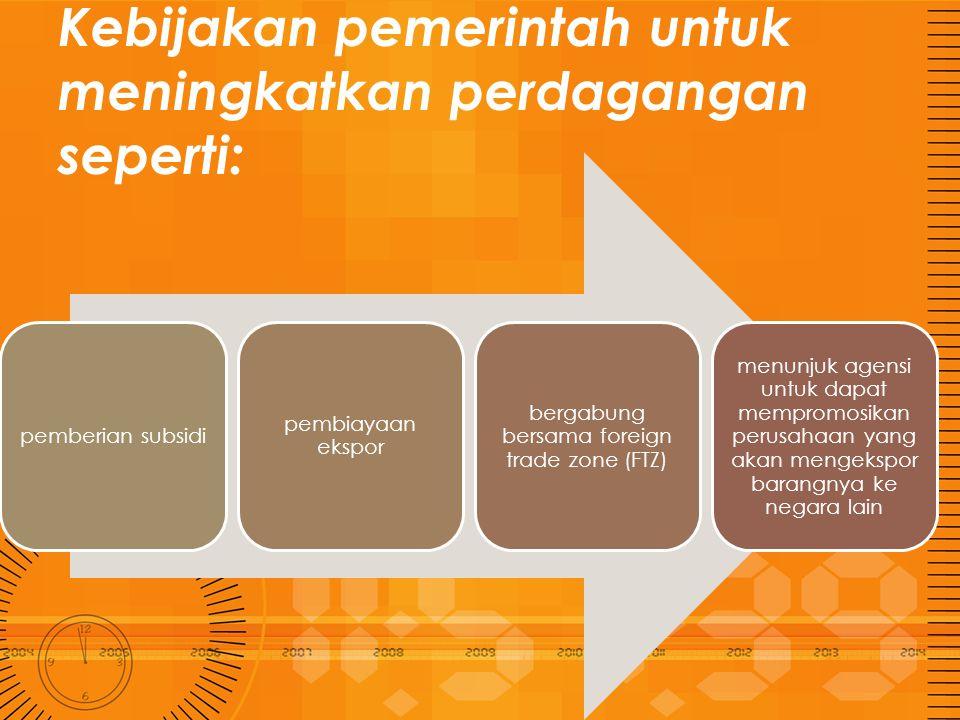 Kebijakan pemerintah untuk meningkatkan perdagangan seperti: pemberian subsidi pembiayaan ekspor bergabung bersama foreign trade zone (FTZ) menunjuk a