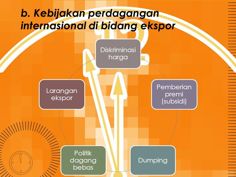 b. Kebijakan perdagangan internasional di bidang ekspor Diskriminasi harga Pemberian premi (subsidi) Dumping Politik dagang bebas Larangan ekspor